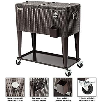 Amazon Com Wicker Cooler Cart Outdoor Serving Cart With