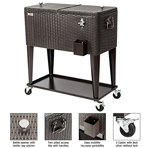 VINGLI 80 Quart Rolling Ice Chest, Portable Patio Party Bar Drink Cooler Cart, with Shelf, Beverage Pool with Bottle Opener (Wicker (Outdoor Ice Chest)