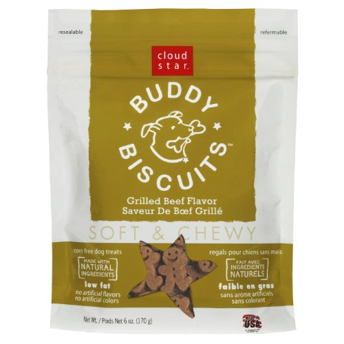 Cloud Star Soft and Chewy Buddy Biscuits Dog Treats, Grilled Beef , 6-Ounce Pouches (Pack of 4), My Pet Supplies
