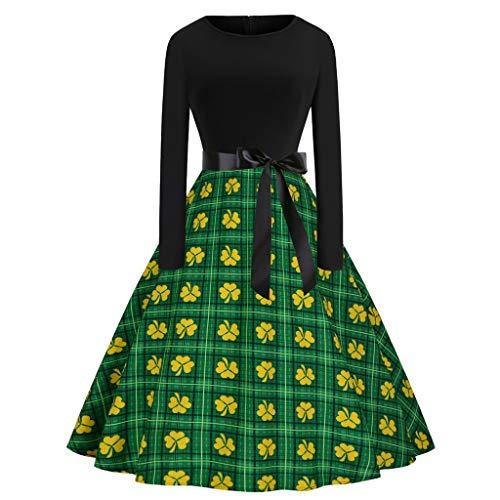 LUCA St. Patrick's Day Women's Dress Clover Sleeveless Shamrock Evening Print Party Prom Swing -