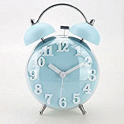 Jinberry 3.5 (10cm) Retro Twin Bell Silent Alarm Clock with Night light and Curved Surface Front / No Tick Classic Vintage Table Clock - Blue