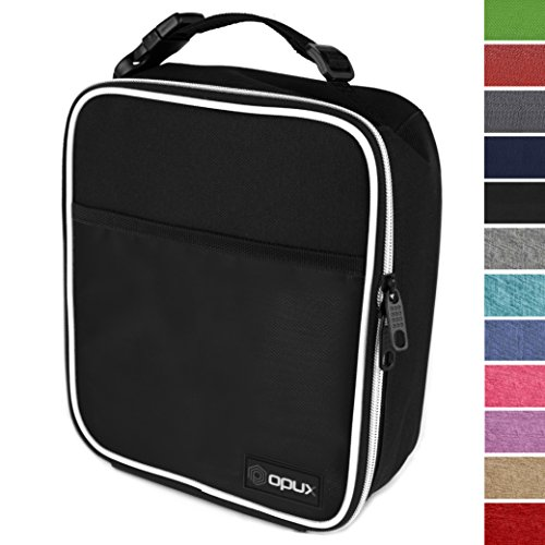 OPUX Premium Thermal Insulated Mini Lunch Bag | School Lunch Box For Boys, Girls, Kids, Adults | Soft Leakproof Liner | Compact Lunch Pail for Office (Black) - Mini Lunch Bag