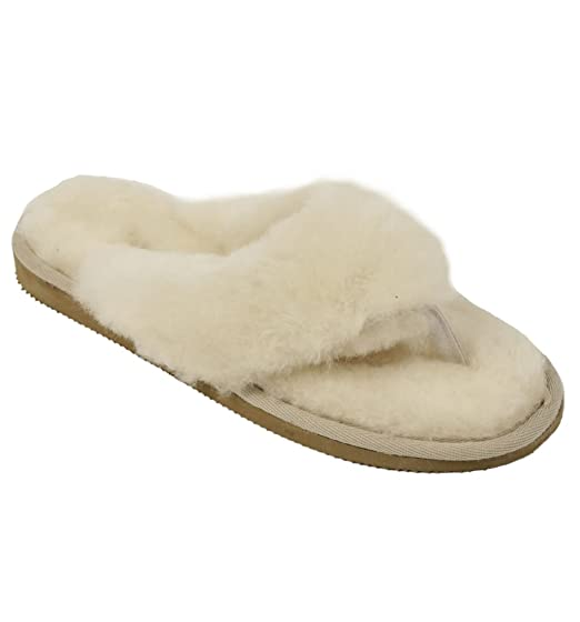 29c5c0acd5a6f0 Ladies Toe-Post Flipflop Style Sheepskin Slipper  Amazon.co.uk ...