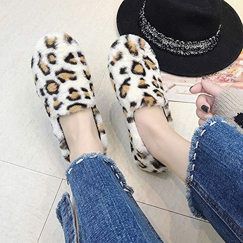 Cinnamou Bottom Lacets Mocasin Femmes Chaussures Imprim Beige Garder Hiver Pour Chaud Soft Pois Au Lopard 5rWqY5