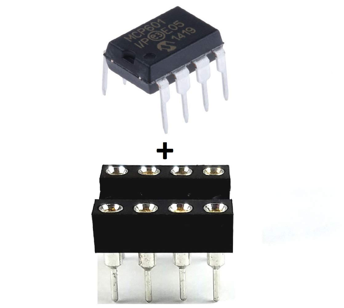 Microchip MCP601-I/P MCP601 + Sockets - Single Supply CMOS Operational Amp (Pack of 5)