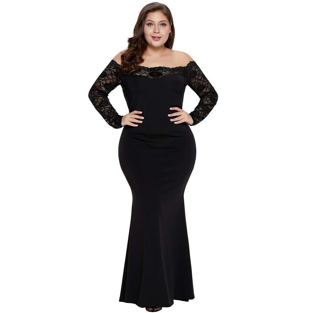 Black Ruiyue Women Dress, Solid color Aline Skirt One Shoulder Lace Hollow Splice Women Dress Long Sleeve High Waist (color   Black, Size   1X)