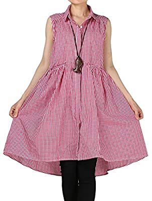 Mordenmiss Women's Summer Plaid Vest Shirt Dress with Front Two Pockets