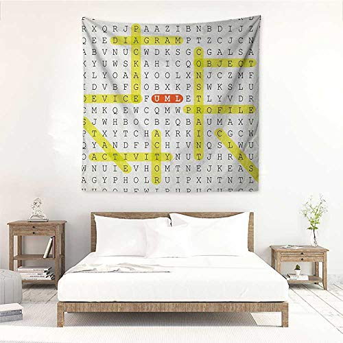 Word Search Puzzle Living Room Square Tapestry Unified Modeling Language Word Puzzle with Highlighted Keywords Occlusion Cloth Painting 63W x 63L INCH Black Yellow Orange]()