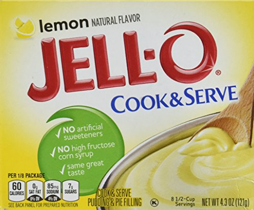 JELL-O Lemon Cook & Serve Pudding & Pie Filling Mix (4.3 oz Boxes, Pack of 6)