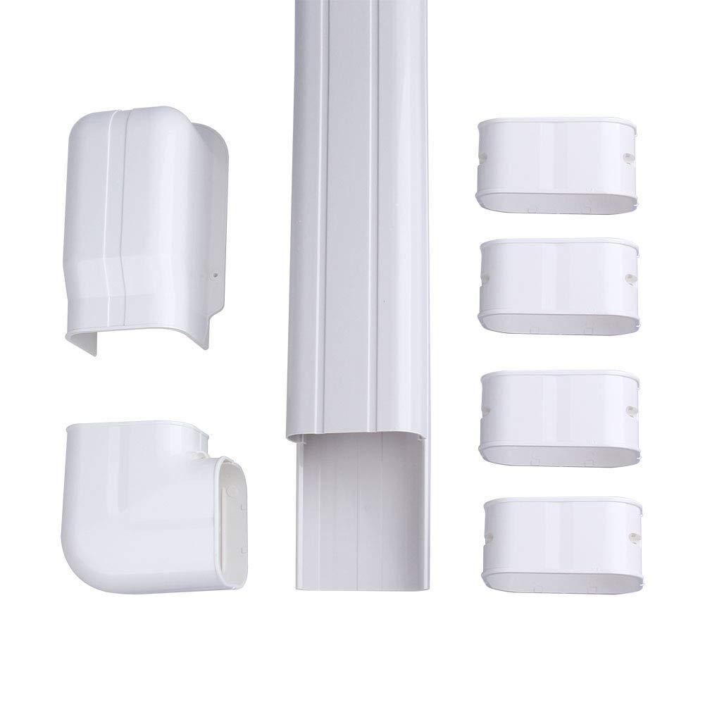AC Parts 4'' W 14Ft L Decorative PVC AC Line Set Cover Tubing Kit for Central Air Conditioner, Heat Pump, Ductless Mini Split by AC Parts