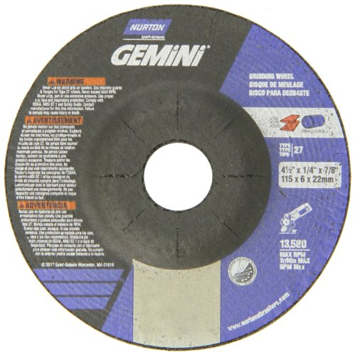 Norton Abrasive Wheels (Norton Gemini Depressed Center Abrasive Wheel, Type 27, Aluminum Oxide, 7/8