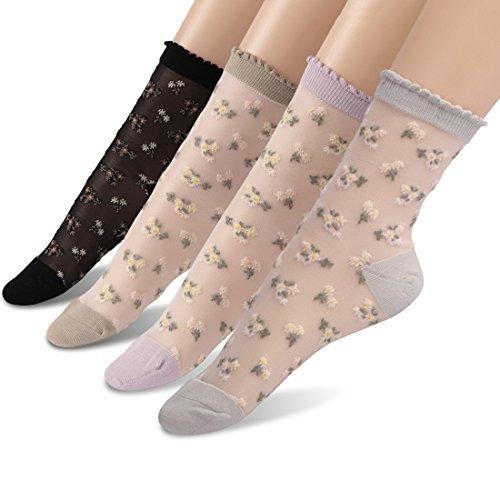Transparent Ankle Socks, Socks Daze Women's Ultrathin Wedding Day Socks 4 Pairs by SocksDaze