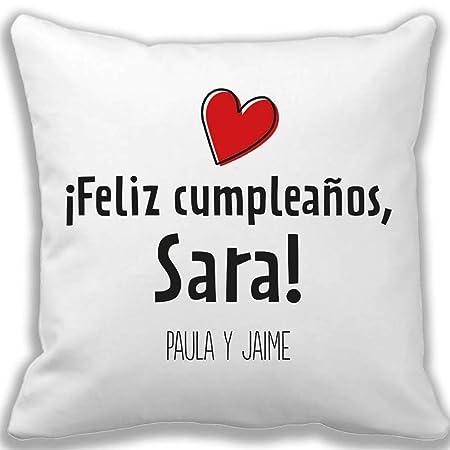 Calledelregalo Regalo de cumpleaños Personalizable para Mujer: Cojín con un corazón y Personalizado con dedicatoria, Nombre y Firma