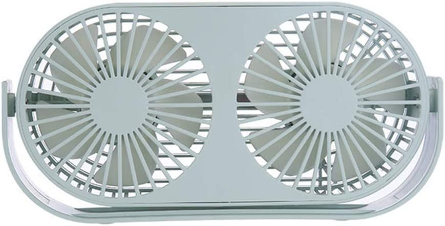 Desktop Computer Desktop Wind 3 Speed Wind Adjustable Double Leaf Aromatherapy Home Office Game Camping-White Big Mute 360 Rotatable USB Double-Head Fan