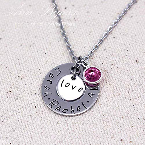 (Personalized Family Name Necklace Hand Stamped Names Pendant Stainless Steel Jewelry Birthstone Charm Mothers Day)