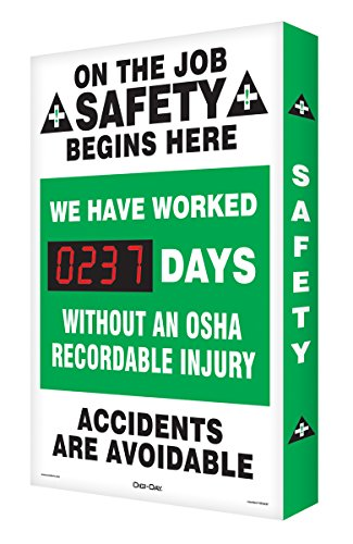 Accuform Signs SCA237 Aluminum Digi-Day Electronic Scoreboard, Legend ''ON THE JOB SAFETY BEGINS HERE - WE HAVE WORKED #### DAYS without AN OSHA RECORDABLE INJURY - ACCIDENTS ARE AVOIDABLE'', 28'' Height x 20'' Width x 2'' Depth, Green/Black on White by Accuform Signs