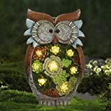 owl garden statue Garden Statue Owl Figurine - Resin Outdoor Statue with Solar Powered LED Lights for Patio Yard Decorations & Lawn Ornaments, 10.5 x 6 Inch, Housewarming Gift