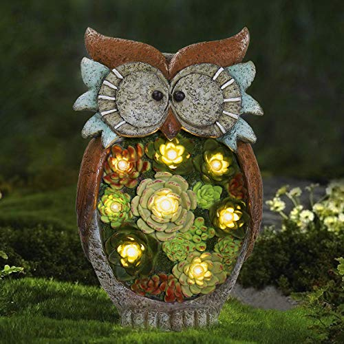 Garden Statue Owl Figurine – Resin Outdoor Statue with Solar Powered LED Lights for Patio Yard Decorations & Lawn Ornaments, 10.5 x 6 Inch, Housewarming Gift