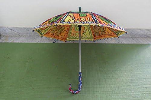 Indian decorativo hecho a mano elefante hippie gypsy Decor algodón espejo trabajo bordado protección UV paraguas, sombrilla, sombrilla de Boho Bohemian boda playa paraguas sombrilla, playa paraguas: Amazon.es: Hogar