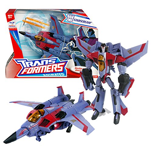 Transformers Year 2008 Animated Series Voyager Class 7 Inch Tall Figure - STARSCREAM with Hidden Arm Cannons and Flip Down Sonic Shock Blasters (Vehicle Mode: Fighter Jet)