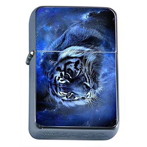 (Blue Tiger Flip Top Oil Lighter Em2 Smoking Cigarette Silver Case Included)