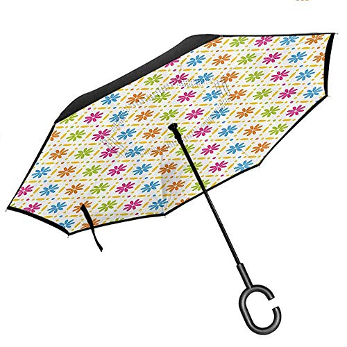 Big Straight Umbrella, with C-Shaped Handle, Outdoor Use Floral Colorful Flowers and Dots Geometric Square Tile Pattern on White Backgorund Print Multicolor