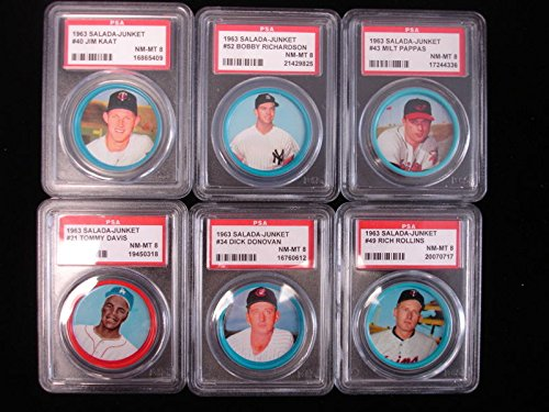 Lot of 6 1963 Salada-Junket Baseball Coins – PSA NM-MT 8