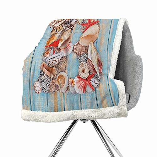 (Khakihome Letter B Flannel Bed Blankets 60 by 32 Inch Queen Pale Blue Ivory Dark CoralAlphabet ABC Ocean Theme Elements Starfish Seashell Pale Color )