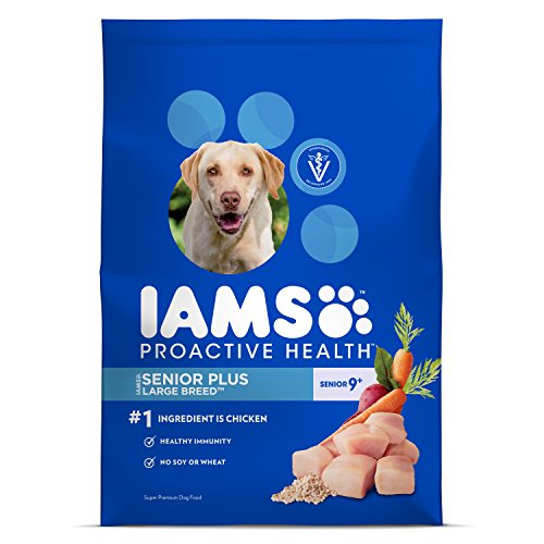 IAMS PROACTIVE HEALTH Large Breed Senior Plus Premium Dry Dog Food (1) 26.2 Pound Bag; Veterinarians Recommend IAMS; Chicken Is #1 Ingredient