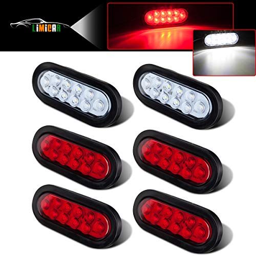 "LIMICAR 4 RED + 2 White 6"" Oval LED Trailer Tail Lights Kit 10-LED Stop Turn Brake Reverse Back UP Marker Tail Light for Truck Trailer Trail Bus RV Jeep 2 Pack"