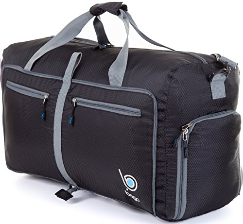 Bago Travel Duffel Bag For Women & Men - Foldable Duffle For Luggage Gym Sports (Large 27', Black)