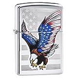 Zippo Flag Design Eagle Pocket Lighter, High Polish Chrome