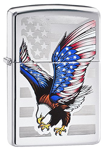 Zippo Flag Design Eagle Pocket Lighter, High Polish Chrome