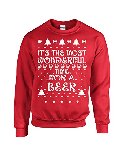 It's the Most Wonderful Time for Beer Ugly Sweater Crew Sweatshirt - XL Red (ATA-B110)