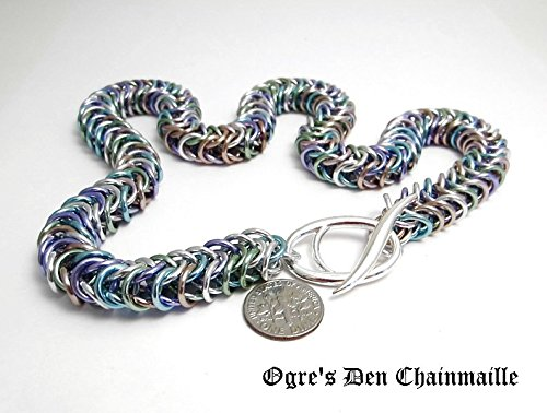 (Handcrafted Box Chain Chainmaille Necklace - Pastels 13