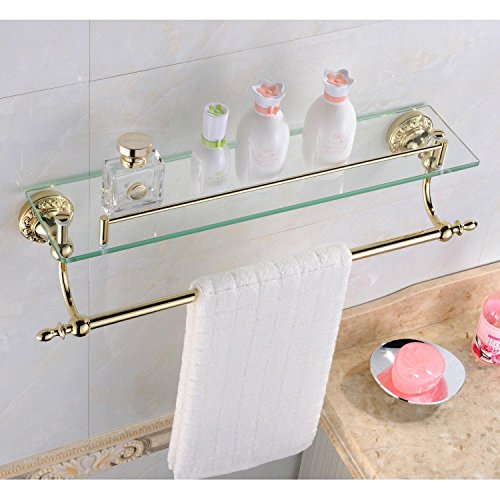 Leyden Bathroom Bath Shower Ti-pvd Finish Solid Brass Material Glass Shelf With Towel Bars Lavatory Accessories by Leyden