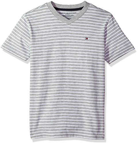 Tommy Hilfiger Boys' Big Short Sleeve Striped V-Neck T-Shirt, Todd Grey, Small