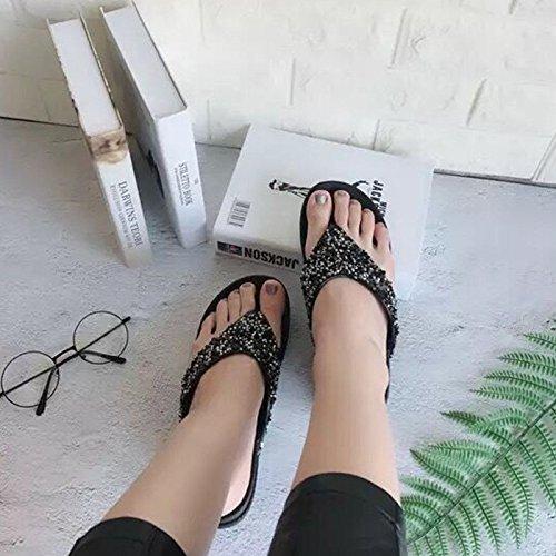 Slip Outdoor Pantoufles Sandales De Herringboneblack Et GUANG Femmes Word Fashion Sandales 40 WordBlack Pantoufles Wild Plage XING Femmes pour 37 Slip Zq6Pw