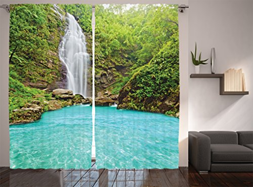 Ambesonne Waterfall Decor Collection, Mountain and Clear Pool Tropical Plants Landscape Print, Window Treatments, Living Room Bedroom Curtain 2 Panels Set, 108 X 84 Inches, Turquoise Green White (Tropical Style Living Room)