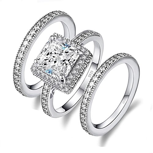 - Diamonbella 72 facets 2 Carat Princess Cut NSCD Simulated Diamond Ring Double Band Set Solid 925 Silver
