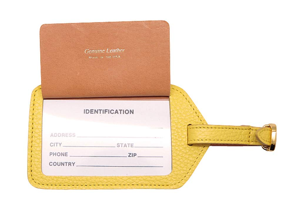Factory Direct Orange Genuine Leather Luggage Tags Colorado Collection Made in USA by Real Leather Creations FBA668