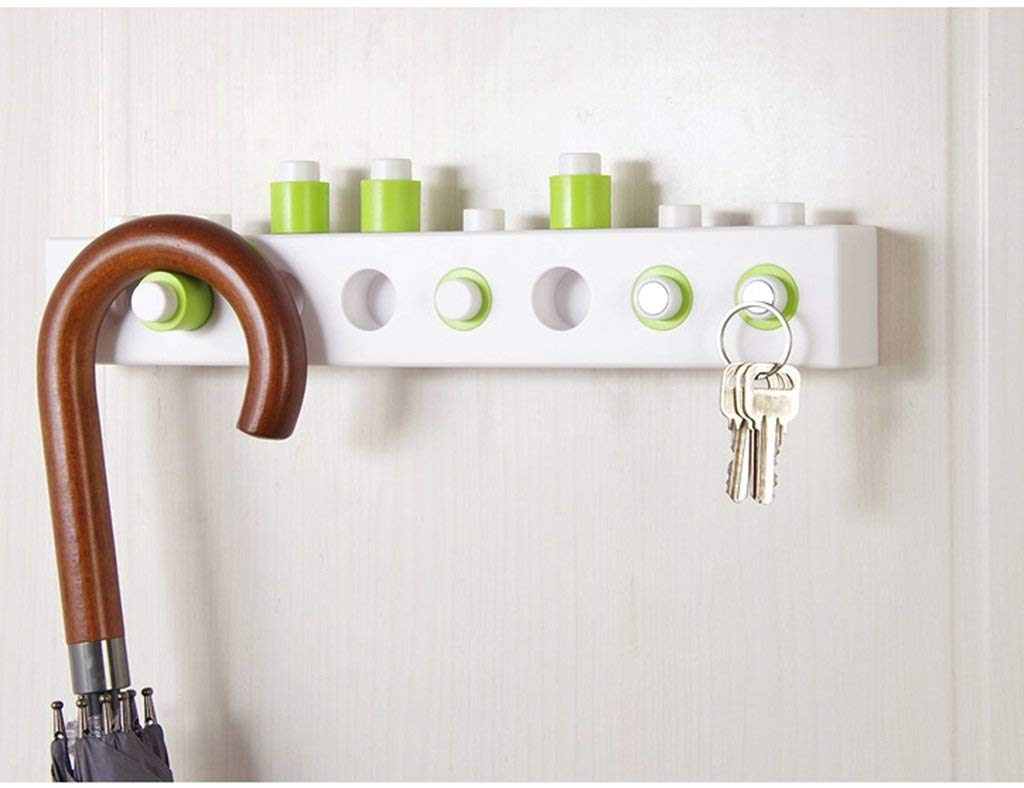 SED Coat Rack-Hanger Floor Bedroom DIY Building Blocks Wall Hanging Paste Behind The Door Living Room Kitchen Nordic Style Sturdy Space Saving Storage Rack,Green