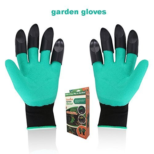 Garden Genie Gloves, Waterproof Genie Gloves with Fingertips Claws on Each Hand, Easy to Dig and Plant for Men and Women and Safe for Pruning (Double)