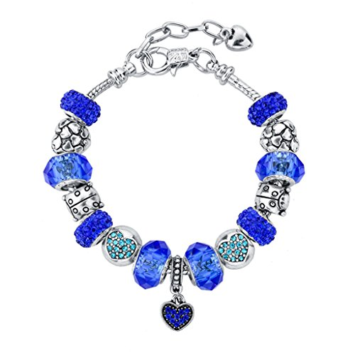 Glass Bead Bracelet (Long Way Silver Plated Snake Chain Blue Glass Bead Heart Charm)