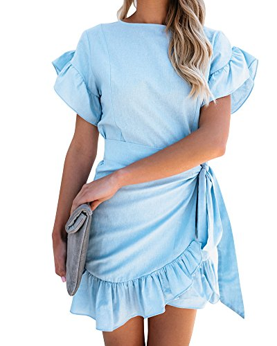 Huiyuzhi Womens Short Sleeve Round Neck Ruffles Wrap Dresses Summer Party Dress (S, Sky Blue) (Dress Wrap Tie)