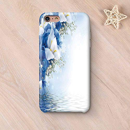 (Light Blue Custom Compatible with iPhone Case,Blue Hydrangeas and White Irises Over The Sea Romantic Bouquet Dreamy Compatible with iPhone 6/6s,iPhone 6 Plus / 6s Plus )