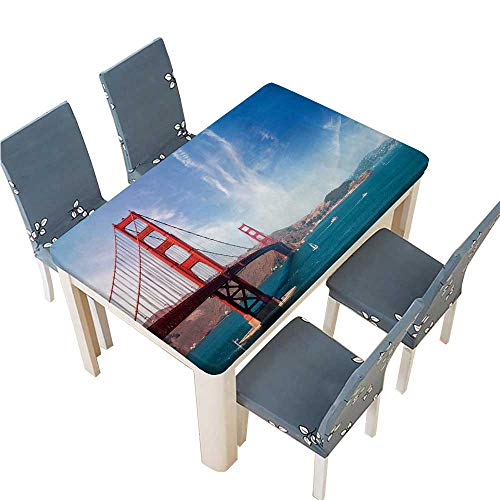 PINAFORE 100% Polyester Luxury Tablecloth Golden Gate Bridge San Francisco Resistant and Waterproof Tablecloths W25.5 x L65 INCH (Elastic Edge)