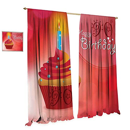 cobeDecor 90th Birthday Blackout Window Curtain Sun and Stars Concept with Creamy Delicious Cupcake Blue Candlestick Customized Curtains W96 x L96 Red Orange Blue ()