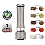 Pepper and Salt Mills Kitchen Electric Spice Grinder Battery Operated Shaker Stainless Steel Grinder Adjustable Coarseness Ceramic Rotor for Cooking Camping BBQ Best Accessories