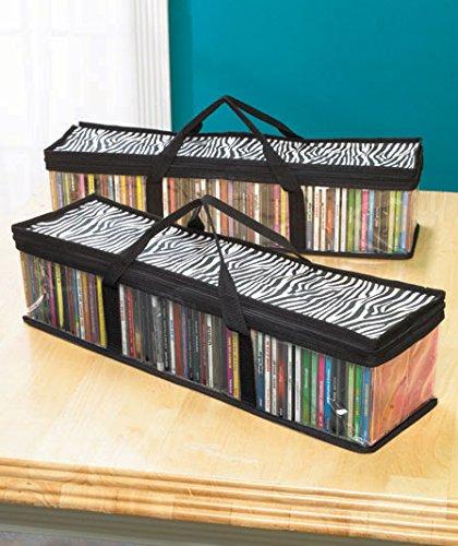 Sets of 2 CD Zebra Print Storage Bags
